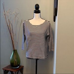 Talbots striped 3/4 length top